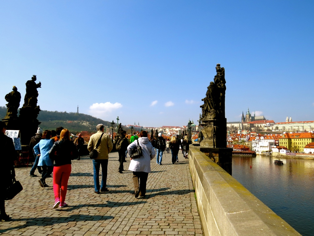 View of the Charles Bridge looking into Lesser Town